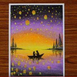 Романтика в лодке — рисунок