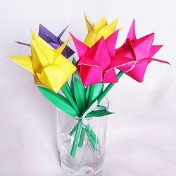Идея поделки для детей — тюльпан из бумаги