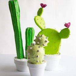 Идея поделки — кактус папье-маше