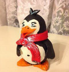 Идея поделки — пингвин из глины