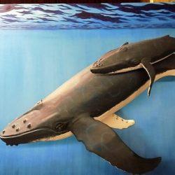 Поделка — семейство китов из папье-маше
